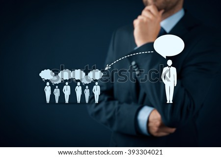 Influencer, opinion leader, team leader, CEO and another business leading concepts. Opinion leader (for example politician) has power to influence opinion mass of people especially customers.