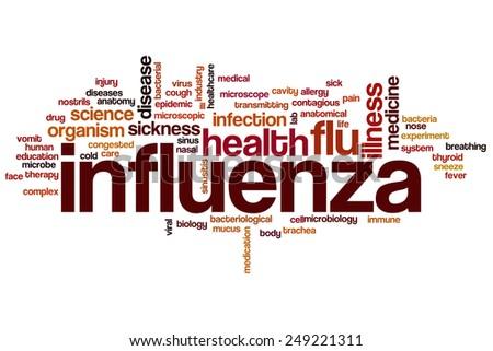 Influenza word cloud concept - stock photo