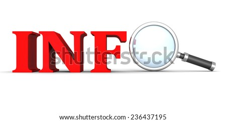 INFO concept text word with magnifying glass. 3d render illustration - stock photo