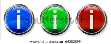 Info 3-D RGB Buttons - stock photo