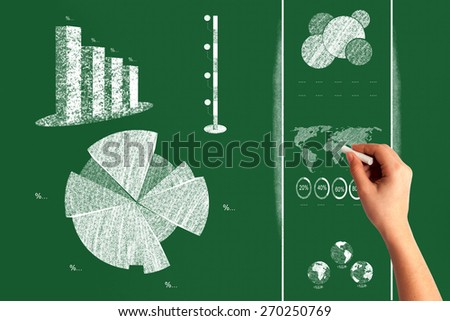 Info Graphic with Human Hand - stock photo