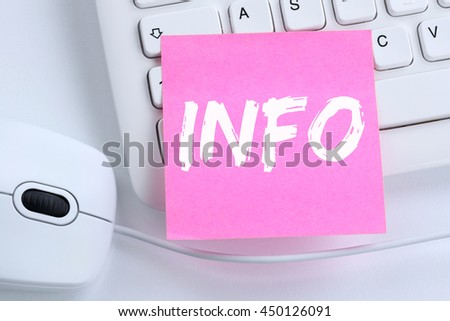 Info information message news announcement announce office computer keyboard - stock photo