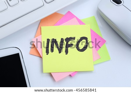 Info information message news announcement announce office desk computer keyboard - stock photo