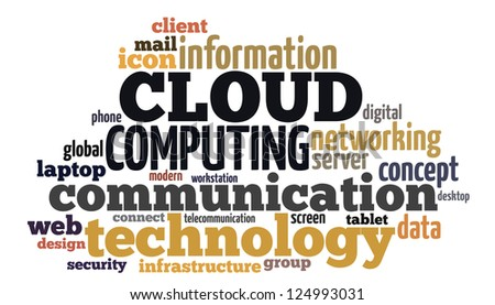 Info text graphic Cloud Computing in word shape isolated in white background - stock photo