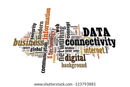 Info text graphic Data in word shape isolated in white background - stock photo