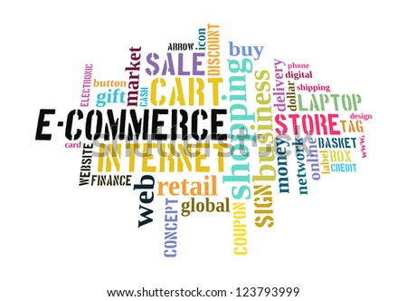 Info text graphic E-Commerce in word shape isolated in white background - stock photo