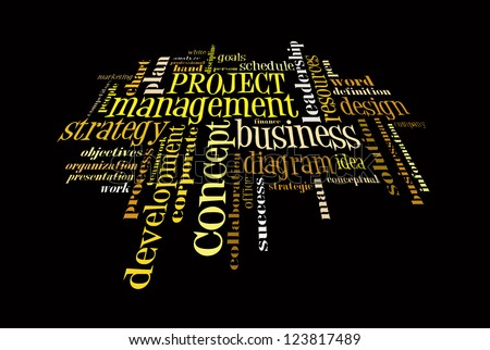 Info text graphic Project Management in word shape isolated in black background