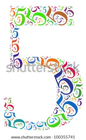 Info-text graphics and arrangement concept (word clouds) begin with number 5 isolated white background - stock photo
