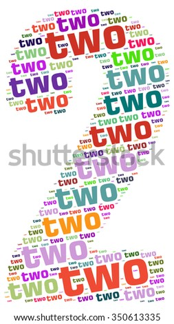 Info-text graphics and arrangement concept (word clouds) begin with Numbers 2 isolated white background