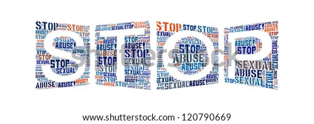 Info-text graphics Stop Sexual Abuse composed in STOP shape concept in white background - stock photo