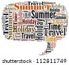 Info-text graphics Summer Holiday Travel chat balloons isolated white background - stock photo