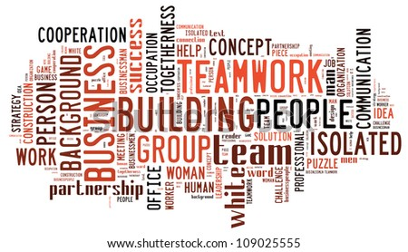 Info-text graphics Team work composed incloud shape concept in white background - stock photo