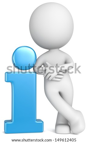 Info. The Dude leaning and pointing at Blue info sign. - stock photo