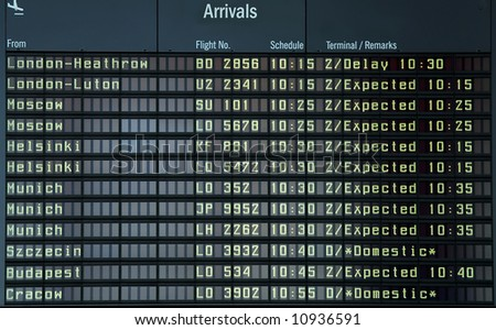 Info timetable in airport. - stock photo