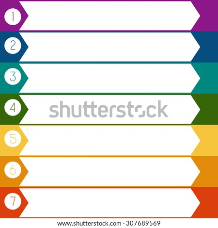 Infographic Colourful arrows template from white strips with text areas on 7 positions - stock photo