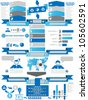 INFOGRAPHIC DEMOGRAPHICS BUSINESS BLUE - stock vector