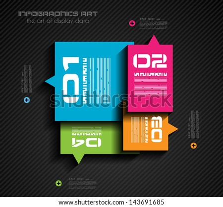 Infographic design template with paper tags. Ideal to display information, ranking and statistics with orginal and modern style. - stock photo