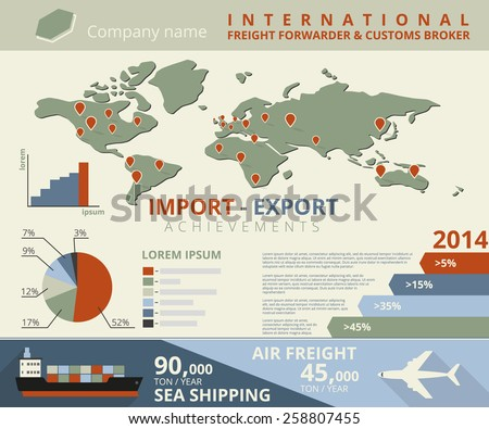 Infographic illustration of import and export achievements for freight forwarder and customs broker - stock photo