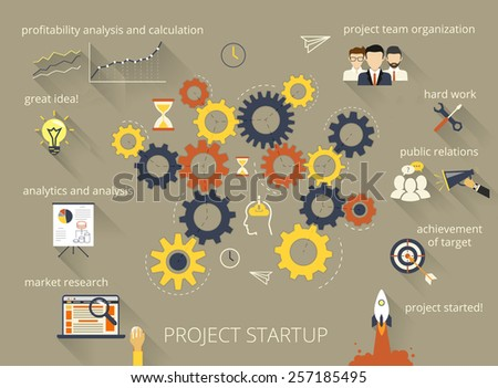Infographic illustration of project startup process with gearing - stock photo