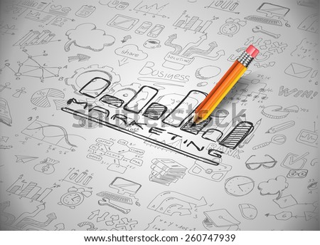 Infographic Layout for Marketing Concept background with graphs sketches. A lot of hand drawn infographics and related design elements are included  - stock photo