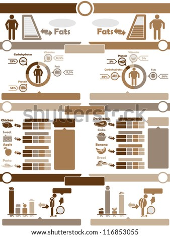 INFOGRAPHIC NUTRITION BROWN - stock photo