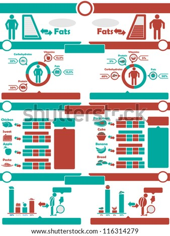 INFOGRAPHIC NUTRITION GREEN AND RED - stock photo