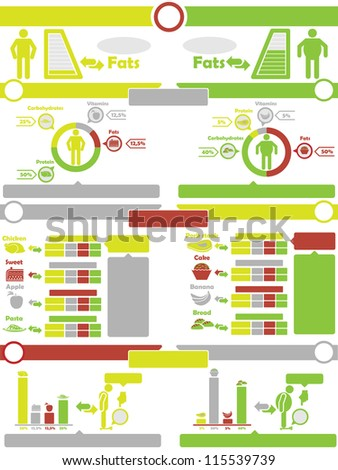 INFOGRAPHIC NUTRITION GREEN AND YELLOW - stock photo
