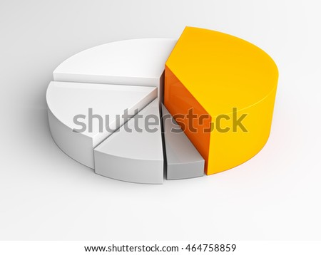 Infographic pie graph 3D isolated on white background. 3d future business graphic. Illustration of abstract 3d shapes, logo design. Gray and orange pie graph.