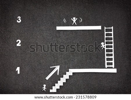 Infographic with White paper people demonstrate three steps to success - stock photo