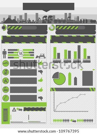INFOGRAPHIC WORK GREEN - stock photo