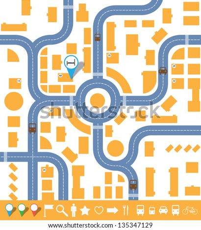 infographics city map.(vector version also available in my gallery)