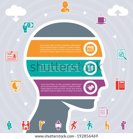 Infographics Concept, human head and variety of tasks - stock photo