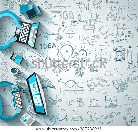 Infographics Teamwork with Business doodles Sketch background: infographics vector elements isolated, . It include lots of icons included graphs, stats, devices,laptops, clouds, concepts and so on. - stock photo