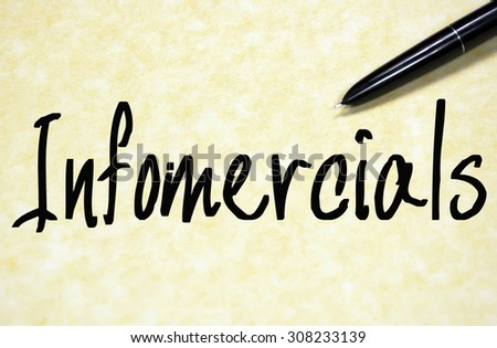 infomercials word write on paper  - stock photo