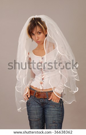 informal bride on gray background - stock photo