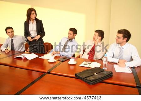 informal business meeting - woman speech - stock photo