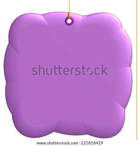Informal purple label, pillow fixed by a rivet and hung on by a yellow thread, isolated on white background - stock photo