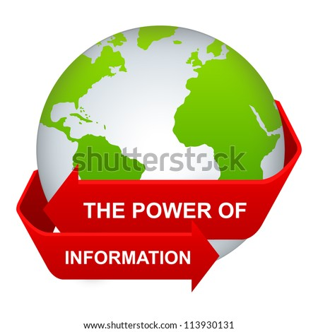 Information And Technology Concept Present By The Red Power of Information Arrow Around The Green Globe Isolate on White Background - stock photo