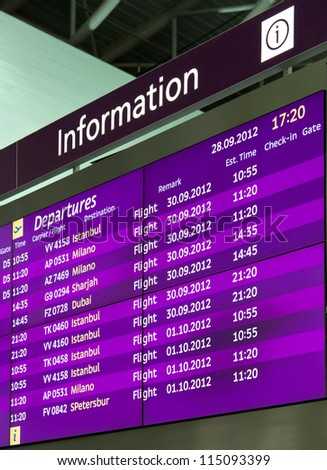 Information board in airport - stock photo
