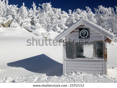 Information booth in a frozen world. - stock photo