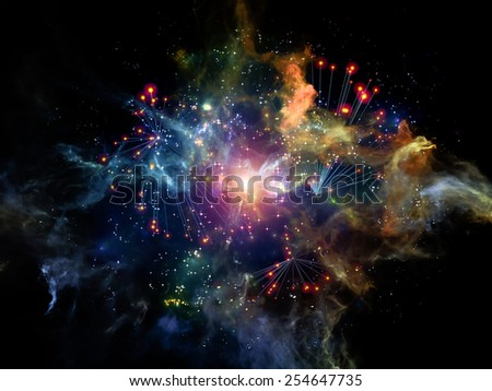 Information Cloud series. Interplay of connected abstract elements on the subject of cloud networking, information, data storage and modern technology - stock photo
