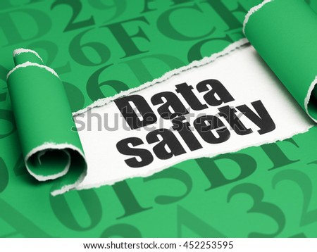 Information concept: black text Data Safety under the curled piece of Green torn paper with  Hexadecimal Code, 3D rendering
