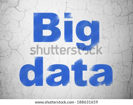 Information concept: Blue Big Data on textured concrete wall background, 3d render - stock photo