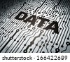 Information concept: circuit board with  word Data, 3d render - stock photo