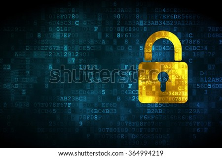 Information concept: Closed Padlock on digital background