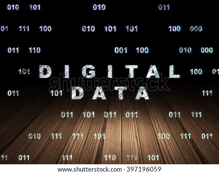 Information concept: Glowing text Digital Data in grunge dark room with Wooden Floor, black background with Binary Code - stock photo