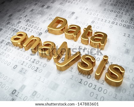 Information concept: Golden Data Analysis on digital background, 3d render - stock photo
