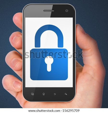 Information concept: hand holding smartphone with Closed Padlock on display. Mobile smart phone in hand on Blue background, 3d render - stock photo