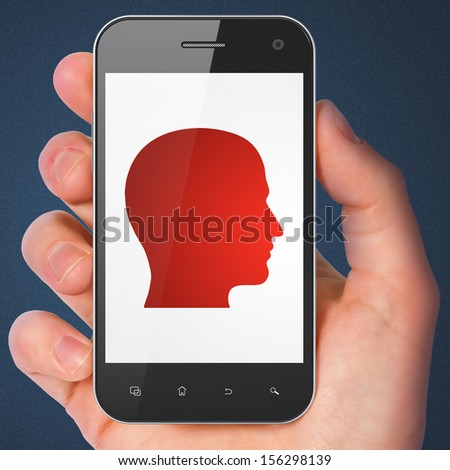 Information concept: hand holding smartphone with Head on display. Mobile smart phone in hand on Blue background, 3d render - stock photo