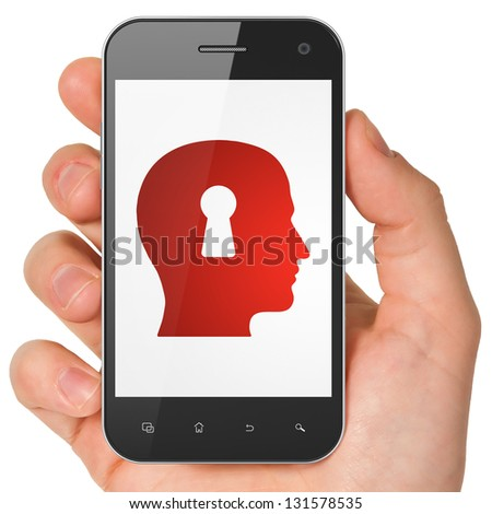 Information concept: hand holding smartphone with Head Whis Keyhole on display. Generic mobile smart phone in hand on White background. - stock photo